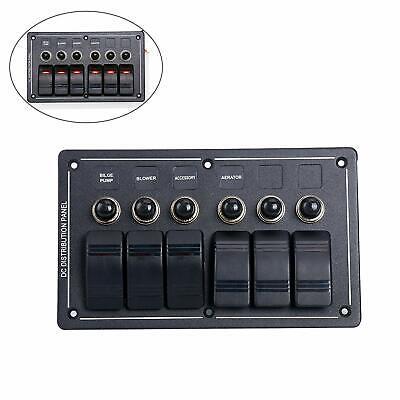 Waterproof 6 Gang Rv Marine Led Rocker Switch Panel With Circuit Breaker 12v 24v