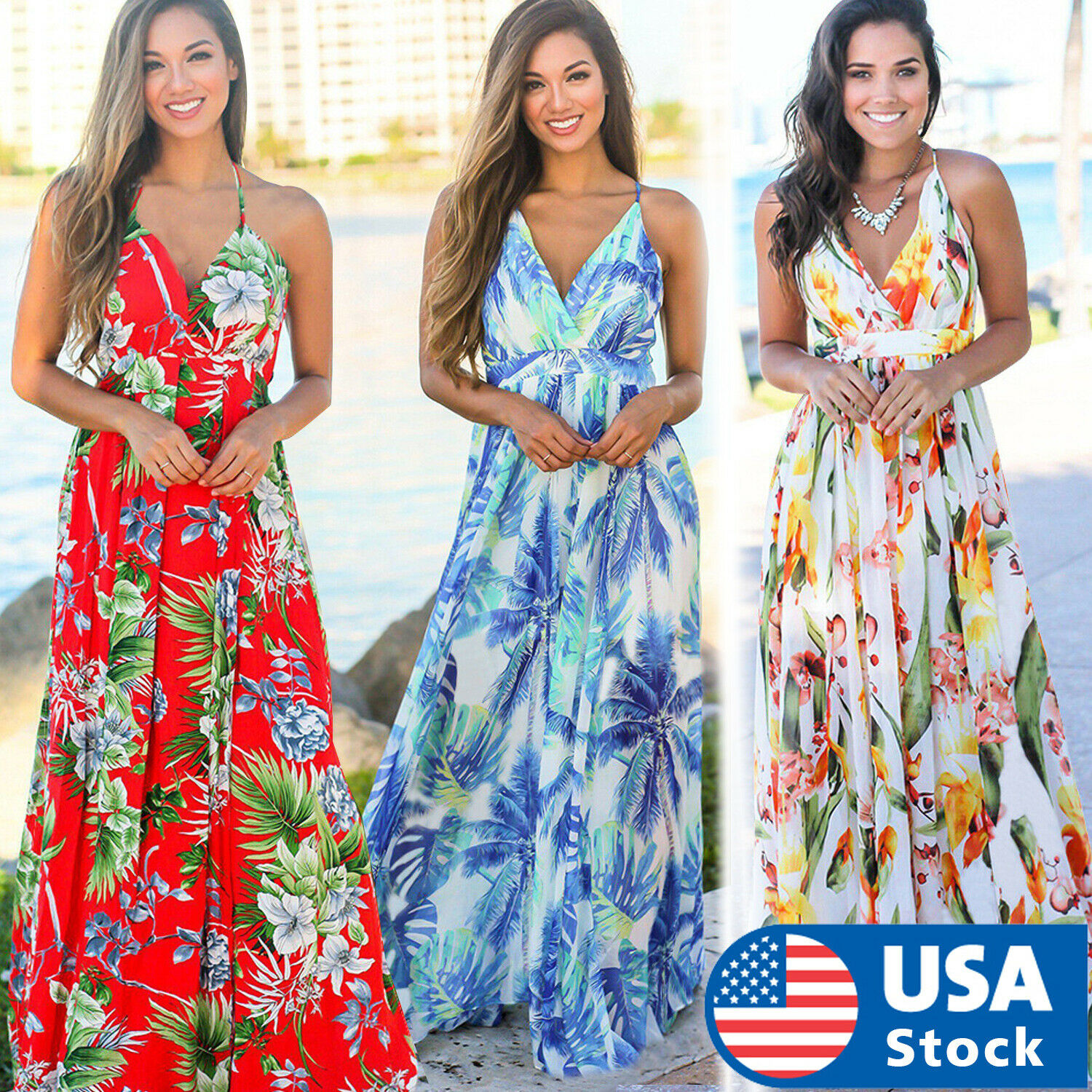 Women Floral Sexy Backless Evening Party Beach Long Maxi Dresses Boho Sundress Clothing, Shoes & Accessories