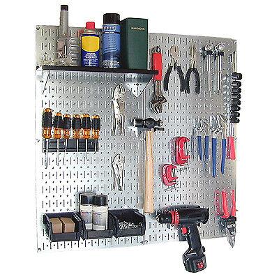 Galvanized Steel Pegboard Tool Organizer Wall Mount Garage Work Area Storage New