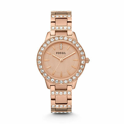 FOSSIL ES3020 Jesse Analog Crystal Rose Gold Stainless Steel 34mm Ladies Watch