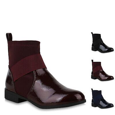 Bootie (Damen Stiefeletten Schlupfstiefel Sock Boots Lack Booties 896751 New Look)