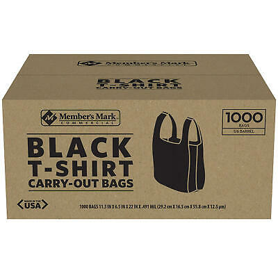Members Mark Black T-shirt Carryout Bags 1000 Ct.