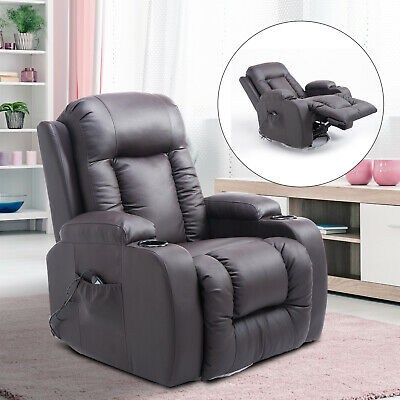 PU Leather Heated Vibrating Massage Recliner Sofa Chair Remote Brown