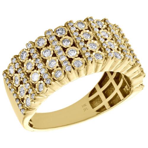 10K Yellow Gold Mens Round Diamond Wedding Band 9mm Miracle Set Ring 0.76 CT.