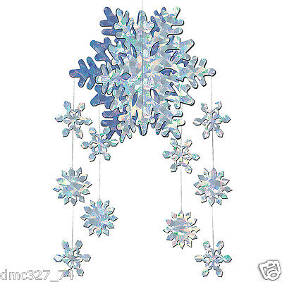 CHRISTMAS Winter or FROZEN Themed Party Decorations SNOWFLAKE 3-D HANGING MOBILE - Christmas Theme Party Decorations