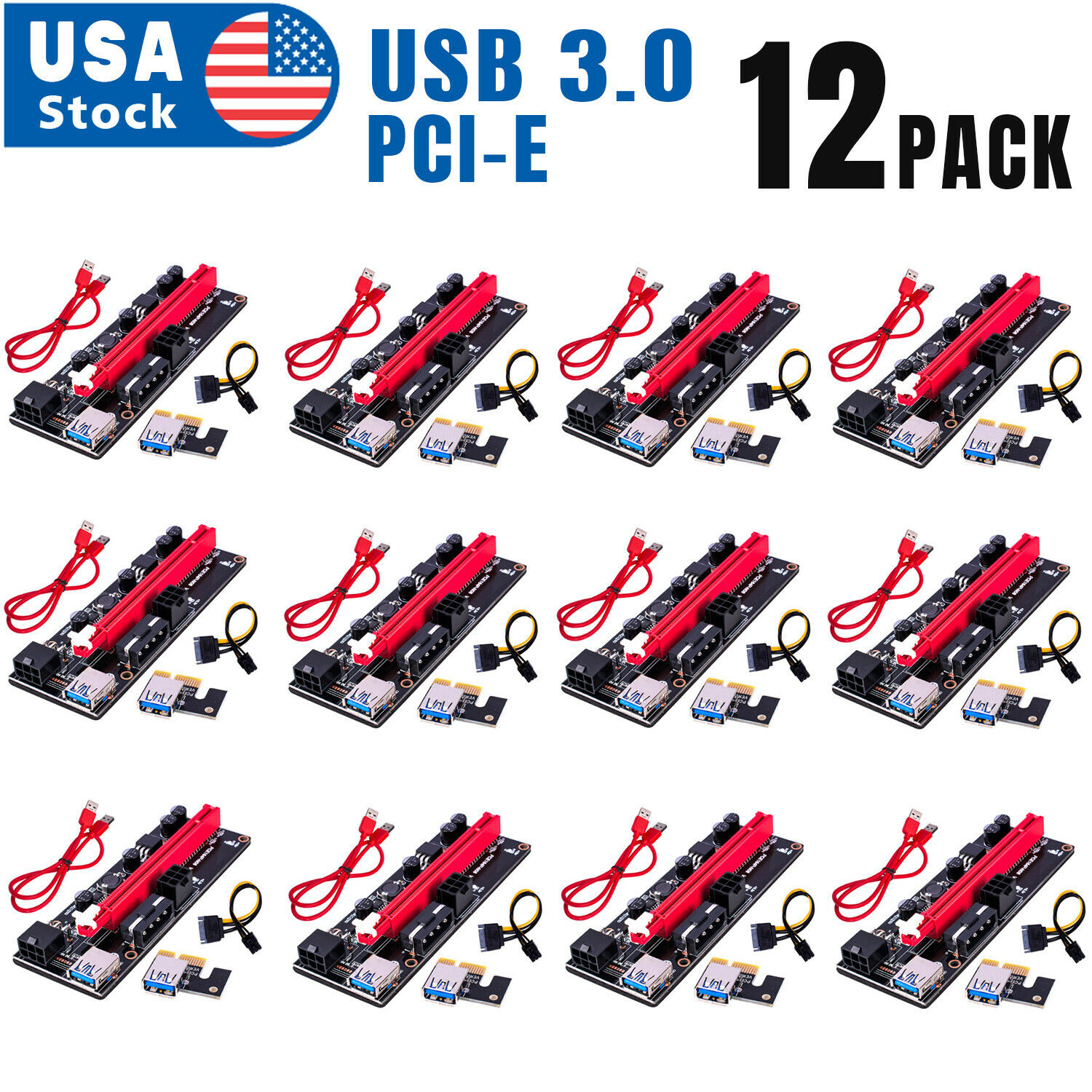 12PACK VER009S PCI-E Riser Card PCIe 1x to 16x USB 3.0 Data Cable Bitcoin Mining Computer Cables & Connectors