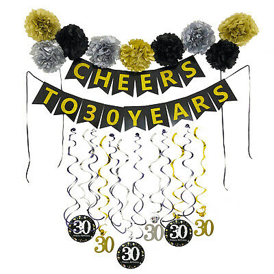 30th Party Decorations (30th Birthday Party Decorations Kit with Pre-Strung Banner Paper Pom)