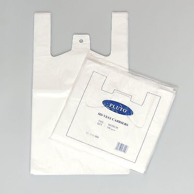 1000 x SMALL WHITE Plastic Vest Carrier Bags  10x15x18