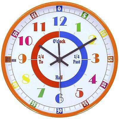 Kids Clock Learning Time Educational Teaching Room Wall Bedroom Home Decor - Childrens Wall Clock