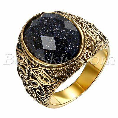Men's Vintage Gold Stainless Steel Patterned Purple Sand Stone Band Ring #7- -