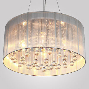 Modern Flush Mount Drum Pendant Crystal Light Chandelier