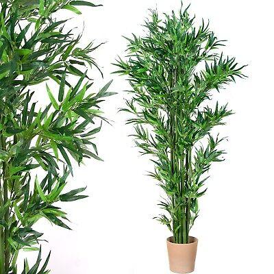 Kunstpflanze Bambus Bambusstrauch Echtholzstamm Kunstbaum Bambusbaum Deko 190 cm