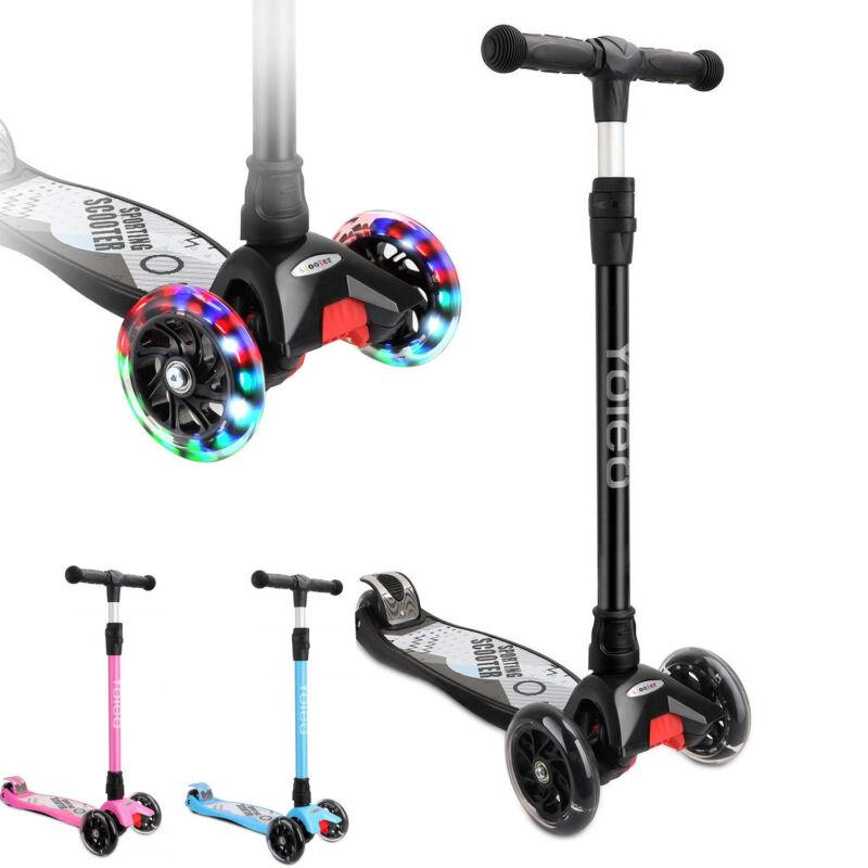 Kinderroller Dreiradscooter Roller Scooter Cityroller mit LED Aluminium