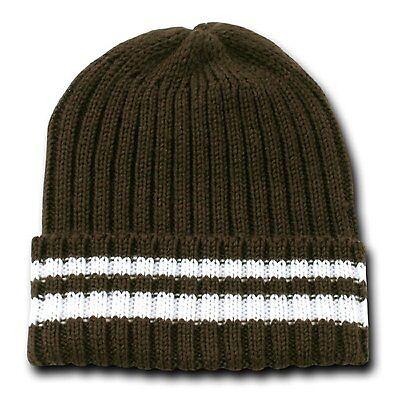 Brown & White Sweater Stripe Beanie Beanies Winter Warm Ski Skull Cap Hat Hats White Stripe Beanie