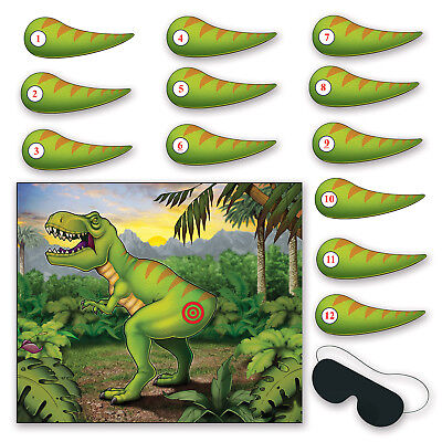 PIN THE TAIL ON THE DINOSAUR birthday Party GAME TREX for 12 - Games For Birthday Parties