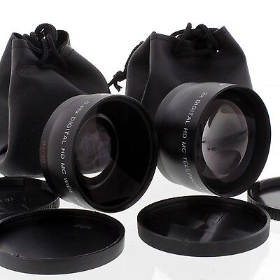 WIDE Angle TELE LENS Kit for 58mm CANON EOS Xsi XTi 600D T2i T3i 550D REBEL