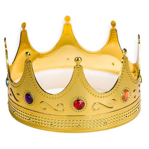 Gold Plastic King Crown Hat Regal Prince Medieval Headpiece Halloween Crown
