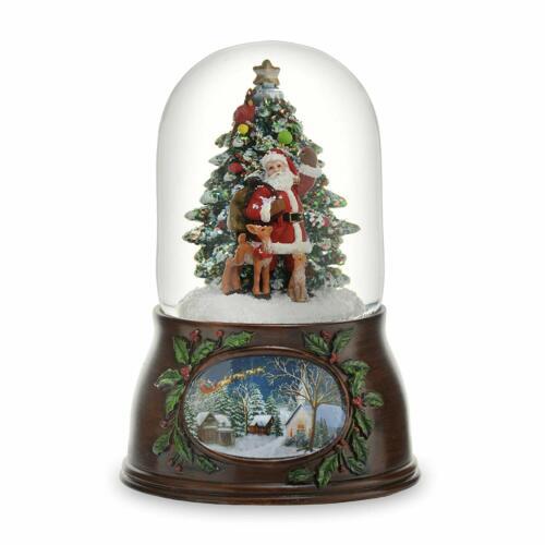 SAN FRANCISCO MUSIC BOX Musical Santa W/Tree Snow Globe