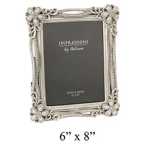 Impressions Antique Silver Art Deco Baroque Design Photo Picture Frame 6x8 Home