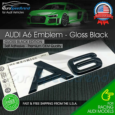 Audi A6 Gloss Black Emblem 3D Rear Trunk Lid Badge OEM S Line Logo Nameplate