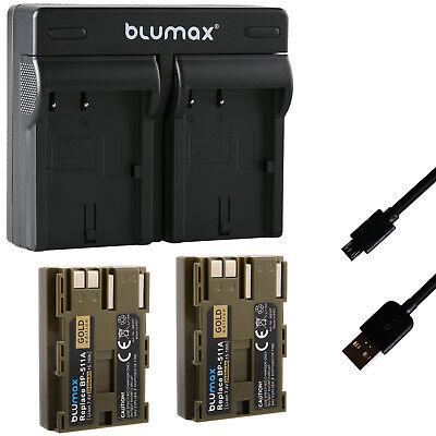 2x Akku für Canon BP-511A 2040mAh + Dual Charger BP-511 BP-535 60397-90108-90311
