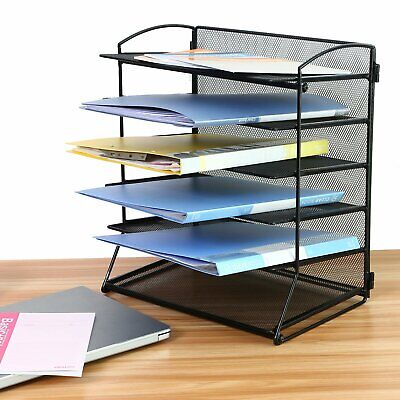 Paper Document Letter Tray Desk Organizer Black Mesh Metal 6 Tier Stackable Tray