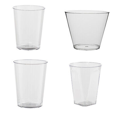 Clear Disposable Hard Plastic Cups- 4 Sizes - Rigid Tumbler Glasses Bar Catering Clear Hard Plastic Cup