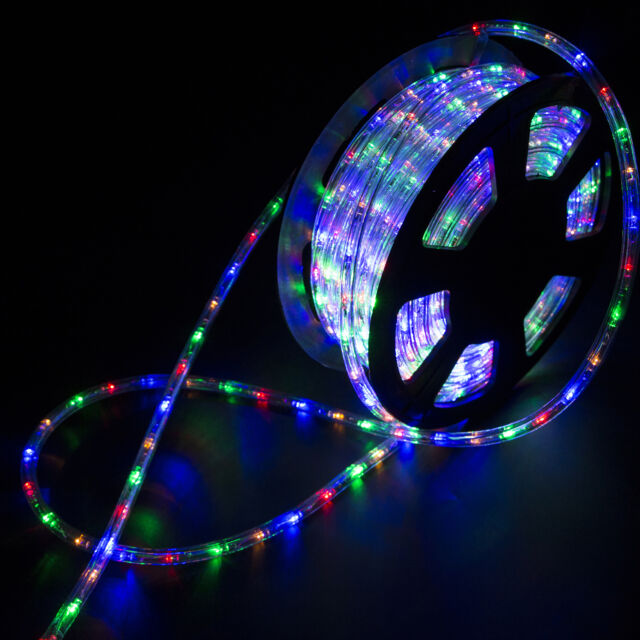 100ft 2 wire led flex rope light xmas holiday party home outdoor 100ft multicolor connectable led rope light inoutdoor xmas party lighting 110v aloadofball Images