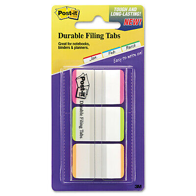 Post-it 1 Durable Index Tabs Fluorescent Colors Wstripes 66 Packs
