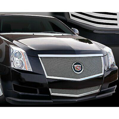 For Cadillac CTS 08-14 Grille Kit 2-Pc Classic Series Chrome Fine Mesh Main &