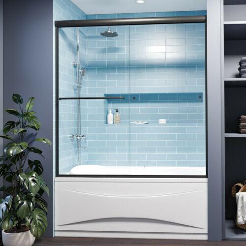 SUNNY SHOWER Double Sliding Shower Tub Doors 58.5-60 W x 62 H in. Matte Black