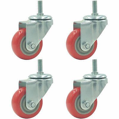 3 Caster 4 Pack Wheels Swivel Plate Stem On Red Polyurethane Heavy Duty Wheel