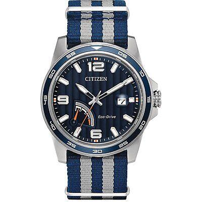 Citizen Eco-Drive Men's AW7038-04L PRT Black Dial Two-Tone Nylon Band 42mm Watch