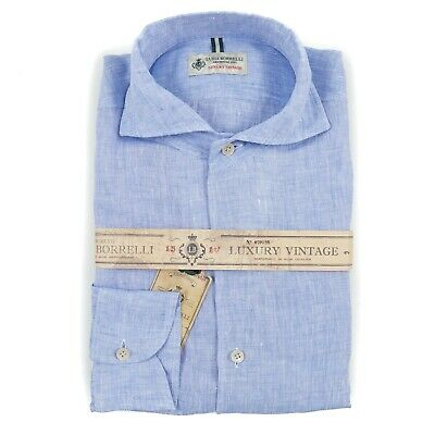 Luigi Borrelli Sky Blue Melange Extrafine Linen Button Front Shirt L NWT