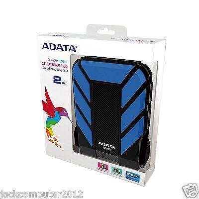 Brand New Adata DashDrive HD710 Waterproof USB 3.0 External Hard Drive 2TB BLUE