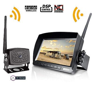 Digital Wireless 7'' Monitor Truck RV Bus Backup Rear View 170° Camera System