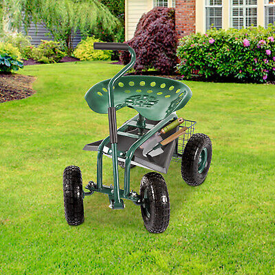 Garden Cart Rolling Outdoor Planting Tool Adjustable Swivel Seat Backyard Lawn