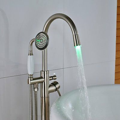 Brushed Nickel Floor Mount Bathtub Faucet LED Tub Filler With Hand Shower Mixer