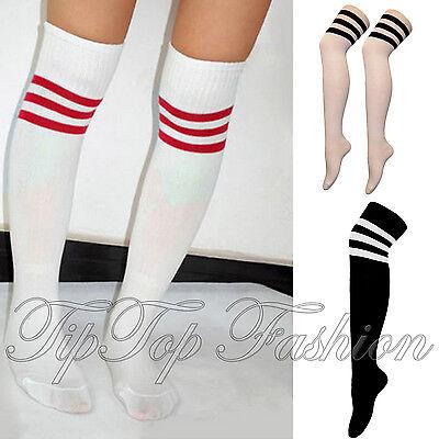 Neu Sport Streifen Socken Cheerleader Kniehoch Rohr Socken Herren Damen Strümpfe ()