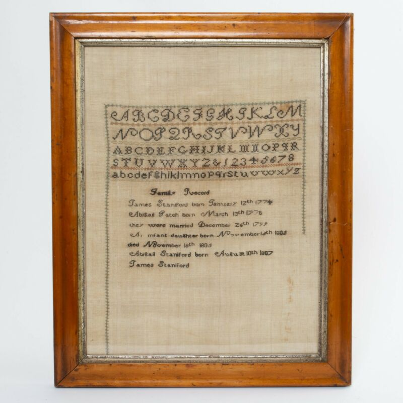 Antique Cross Stitch Embroidery Sampler Family Record James Staniford 1774