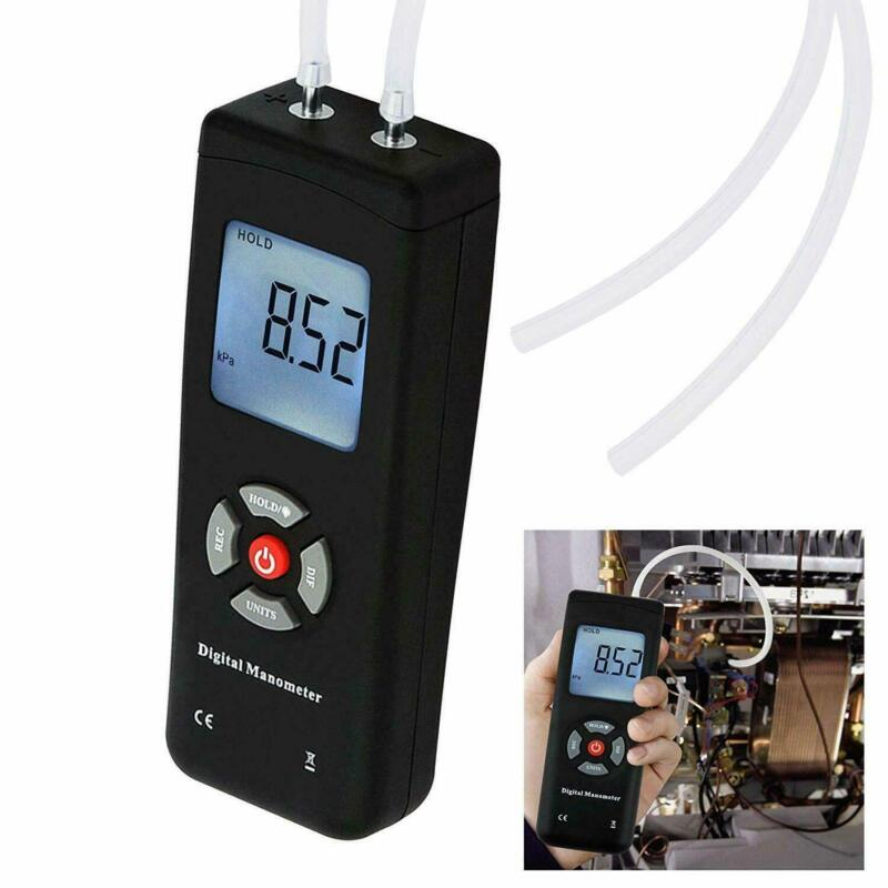Manometer Digital Air Pressure Meter Differential Gas Tester Tool LCD Gauge Test