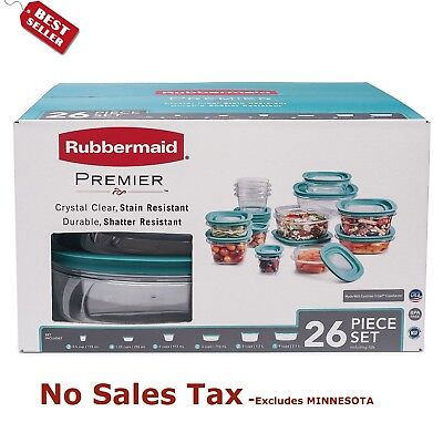 Rubbermaid Premier 26 Piece Food Storage Set Plastic Containers   Free Shipping