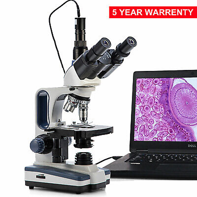 Swift 40x-2500x Science Veterinary Trinocular Microscope Lab Led 3mp Usb Camera