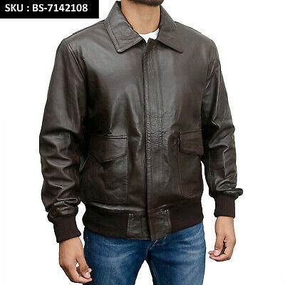 A 2 US Pilots Flying 100% Cowhide Leather Bomber Jacket WW2 American Air force