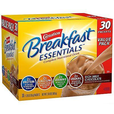 Carnation Breakfast Essentials Chocolate Drink Mix 2 packs x 30 = 60 Total ct.