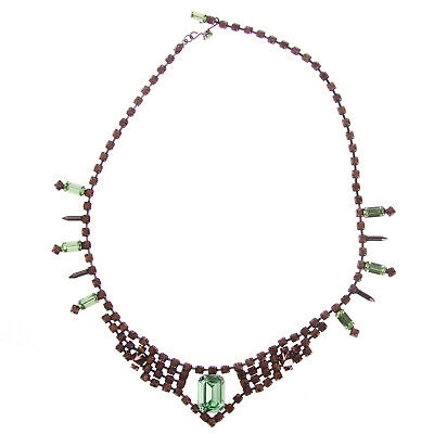 JOOMI LIM Baroque Punk Orange/Green Crystal Necklace with Spikes NEW