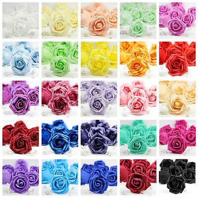 10X 50X Foam Roses Artificial Flower Heads Wedding Bouquet Party Home Decor DIY - Foam Flower