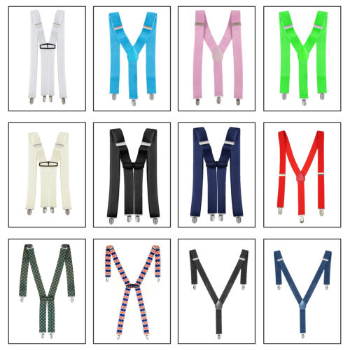 Unisex Mens Womens Braces 35mm Wide Elastic Y-back Adjustable Suspenders Clip On