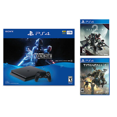 PlayStation 4 Slim 1TB Star Wars Battlefront II Console + Destiny 2+ Titanfall 2
