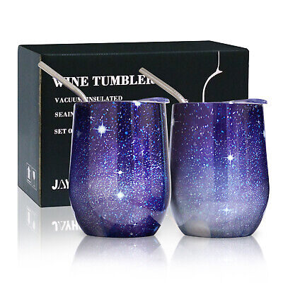 Set of 12 oz Stemless Insulated Wine Glass Tumblers with Lid & Straw Wine Cups